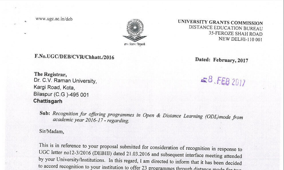 Dr C.V. Raman University Distance MBA accreditation proof