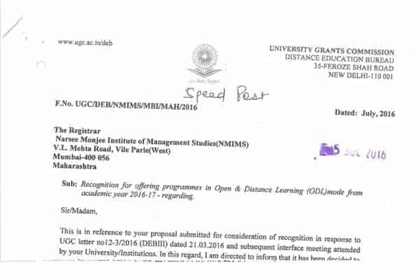 NMIMS university accreditation proof