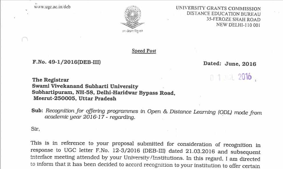 Swami Vivekanand Subharti University Accreditation