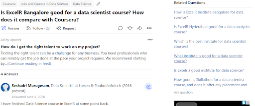 ExcelR Data Science Quora Review